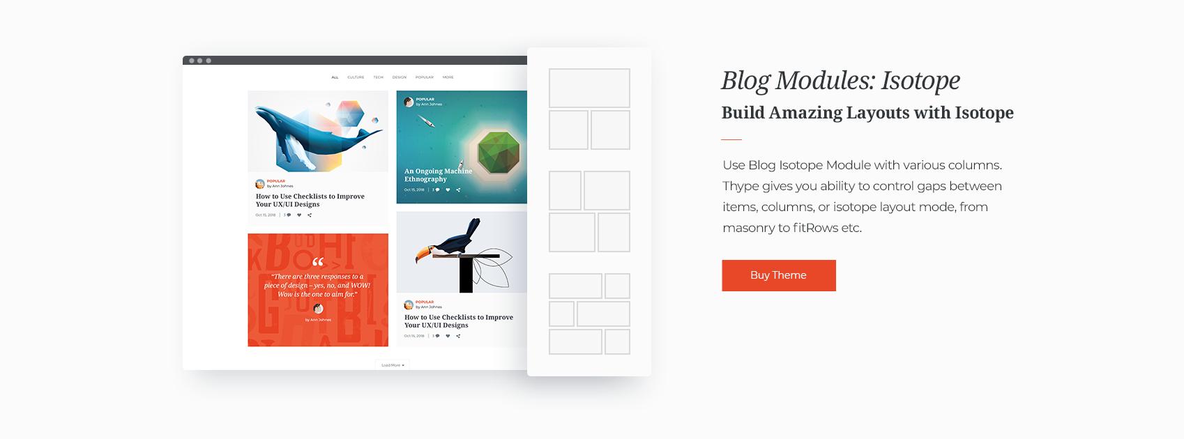 Blog Module: Isotope – Thype – Blog & Magazine WordPress Theme