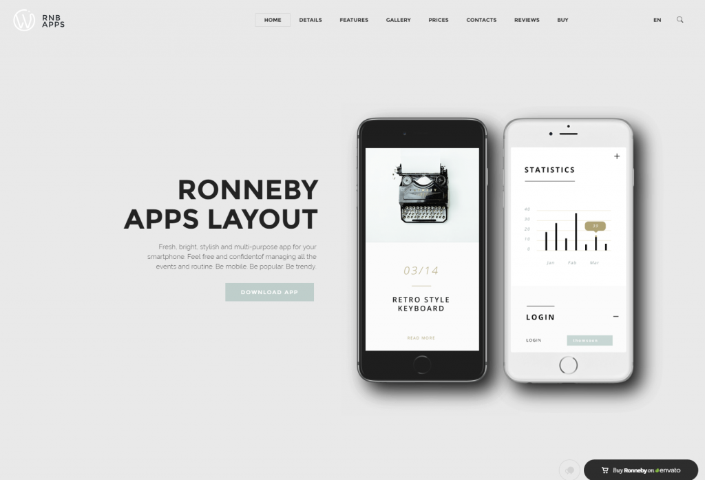 Apps Corporate Layout Ronneby Premium WordPress Theme