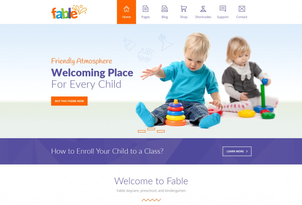 Fable Children Kindergarten WordPress Theme Home Style I