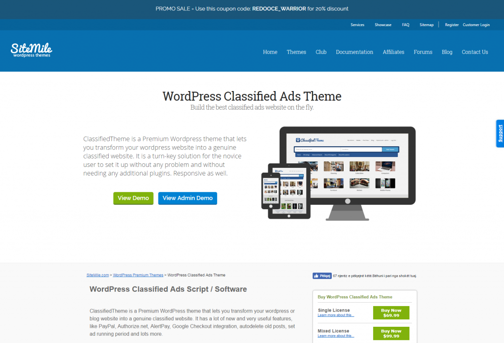 WordPress Classified Ads Theme Classified Ads Script SiteMile.com