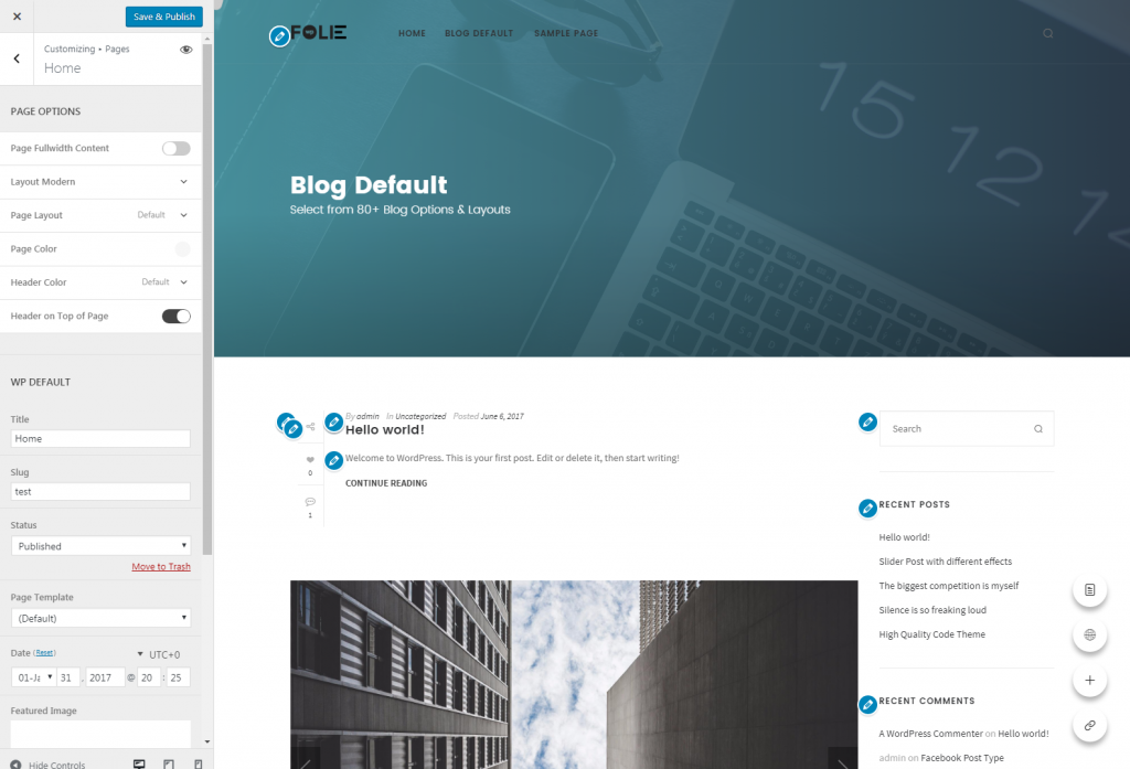 Customize Blog Default – Folie Wp Doc