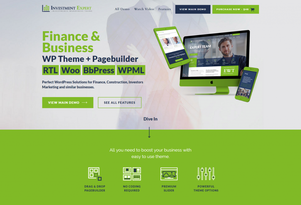 Business Theme for Investment Experts in Financial Consultancy