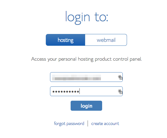 Bluehost login section