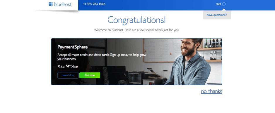 Bluehost Congratulations Hosting registered