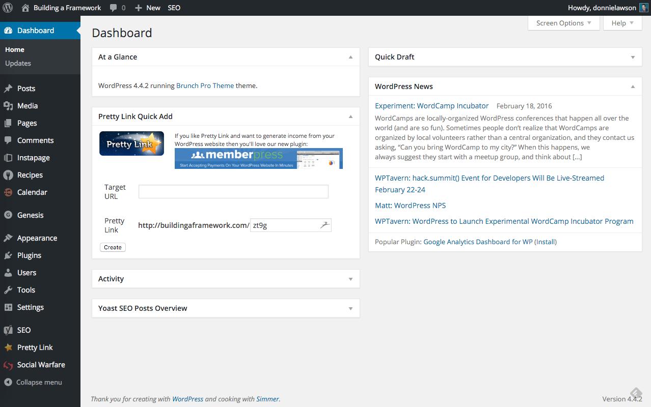 Basic WordPress Configurations Dashboard