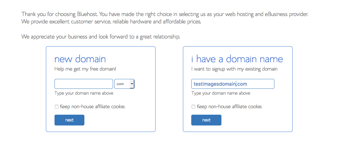 Register new domain with Bluehost