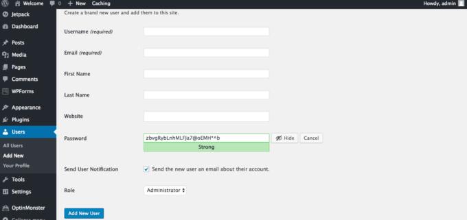 Add new user password