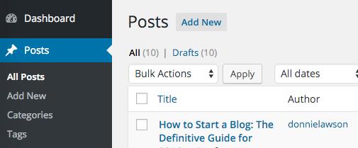 WordPress posts screen