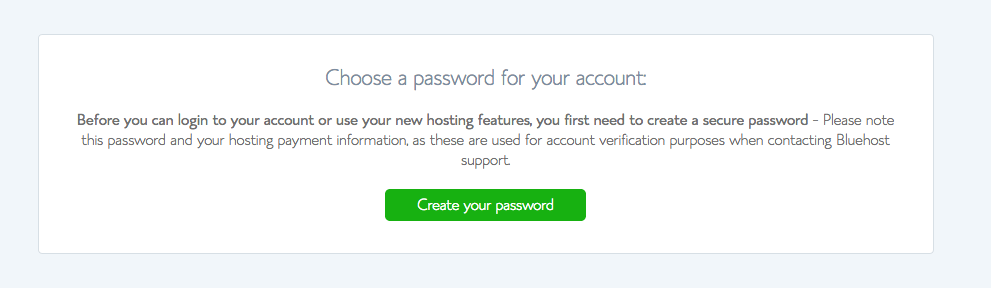 Choose account password on Bluehost