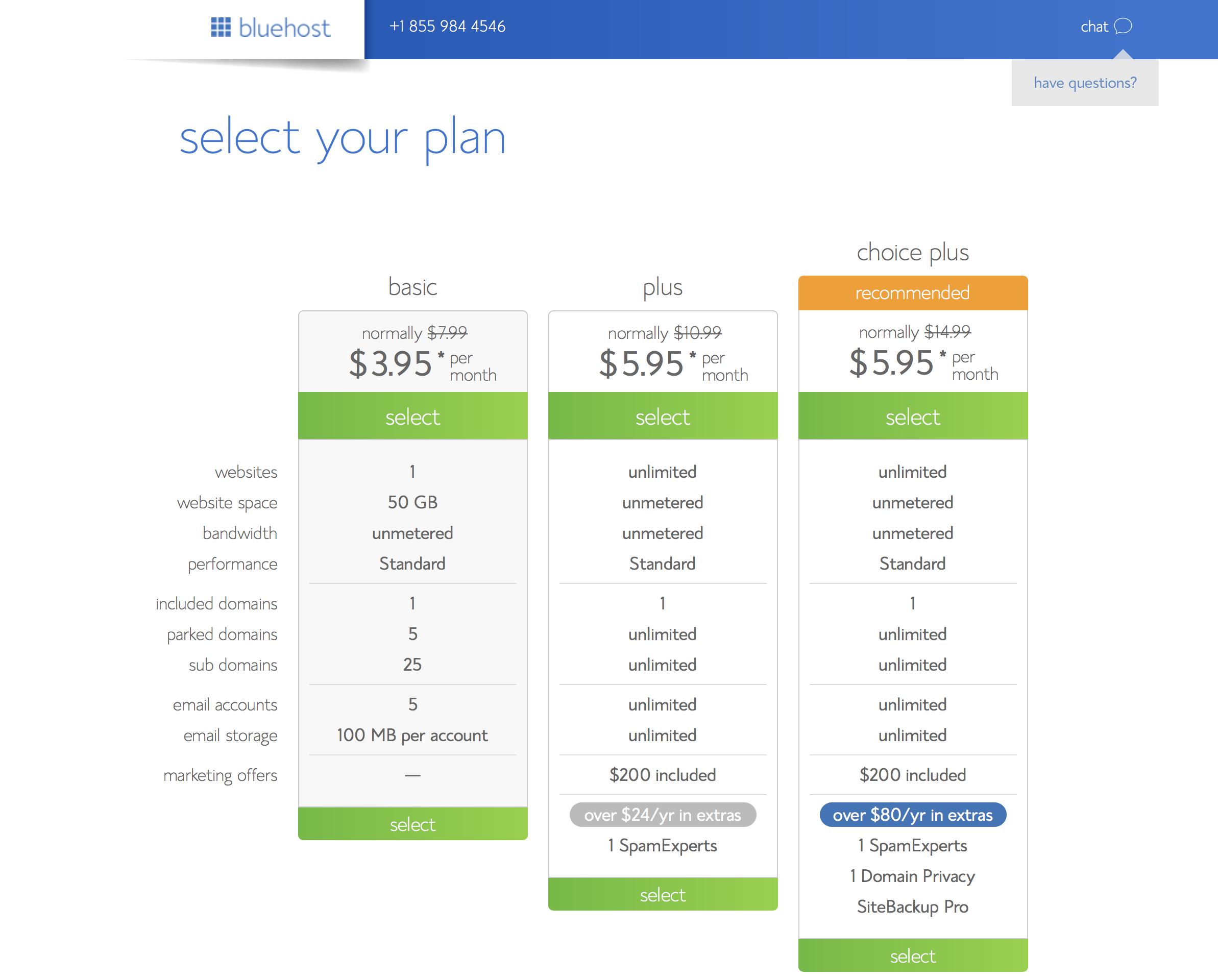 Select Hosting plan to start a WordPress blog