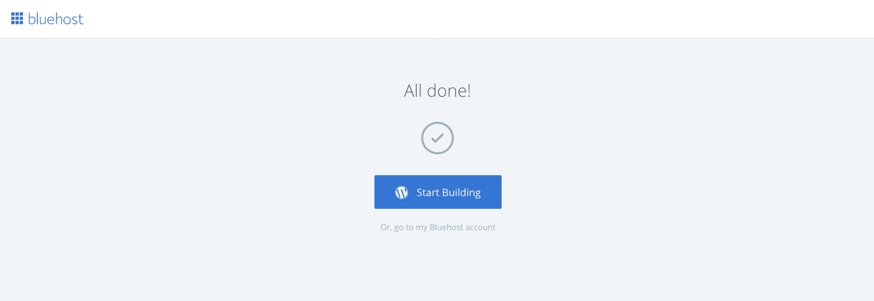 Bluehost all done message
