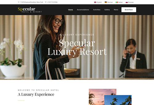 Specular Hotel WordPress Theme