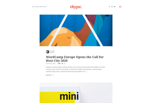 Thype Blog Centered WordPress Theme