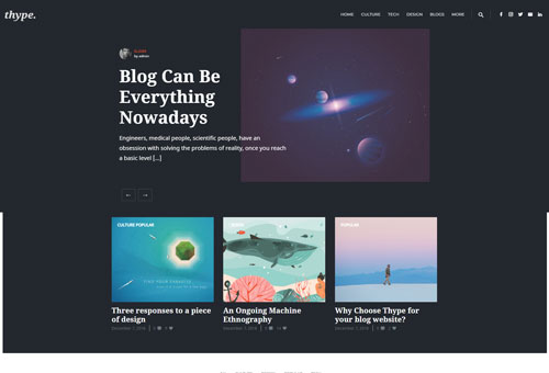 Thype Blog Dark WordPress Theme