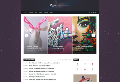 Thype Magazine Boxed WordPress Theme