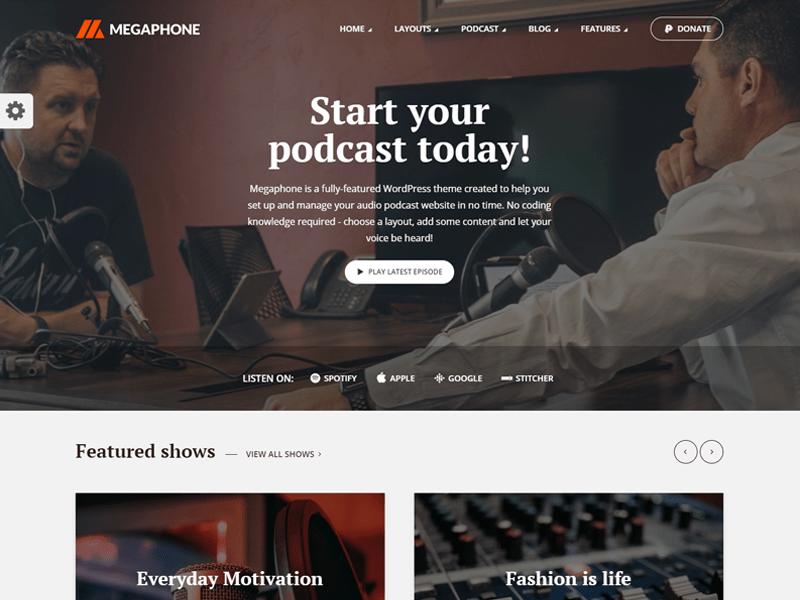 Megaphone: Best Podcast WordPress Themes