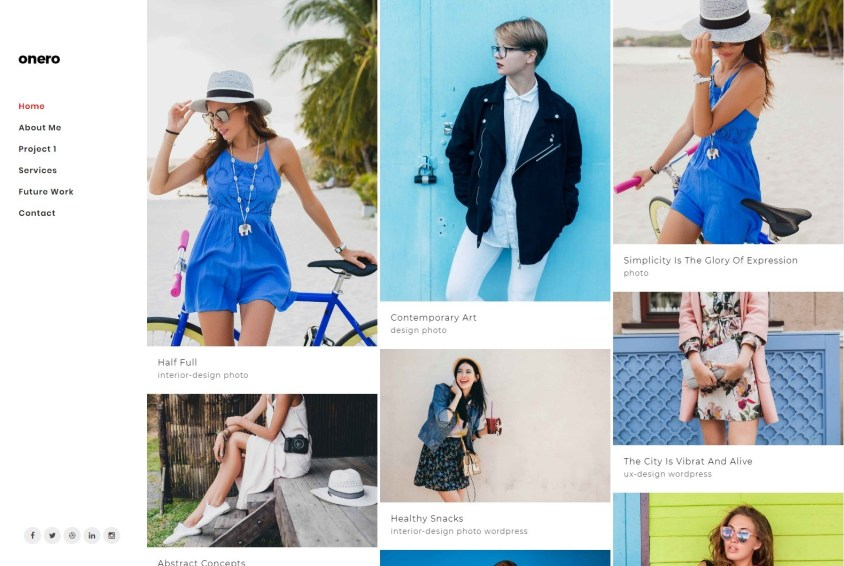 Onero Fashion Photography WordPress Theme