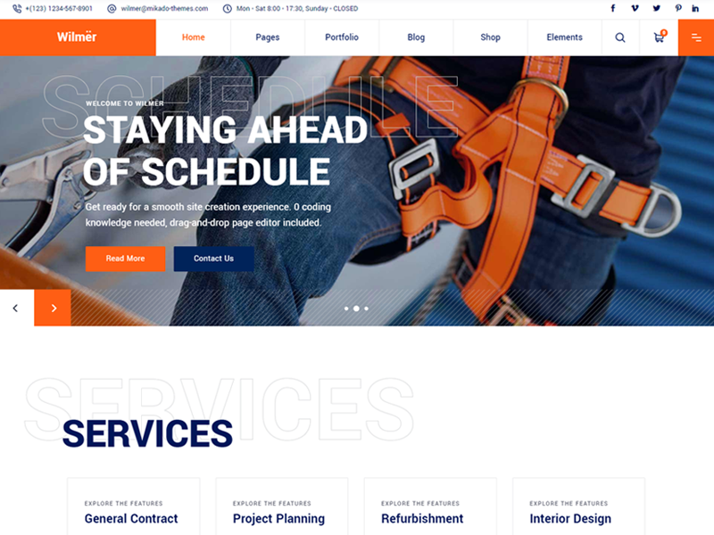 Best Wilmer Construction Company WordPress Theme