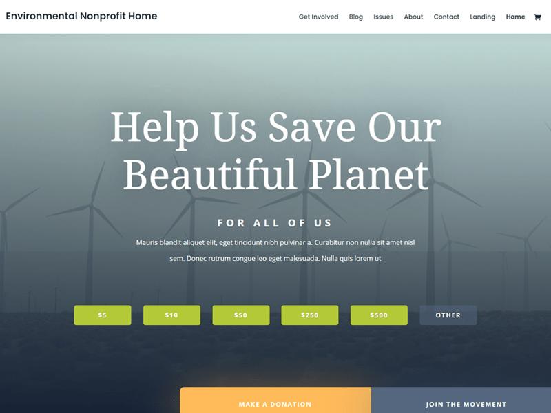 Divi nonprofit theme