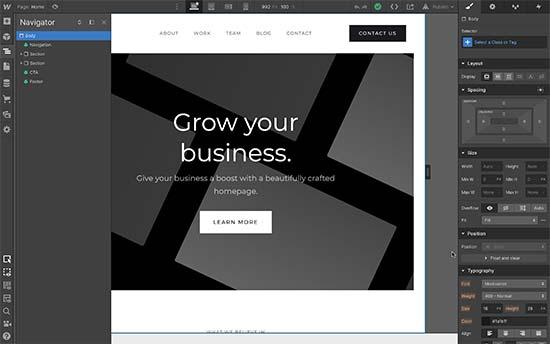 Webflow ease of use editor