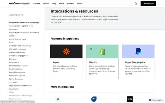 Webflow addons & plugins integrations