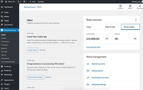 WordPress as Ecommerce: WooCommerce dashboard