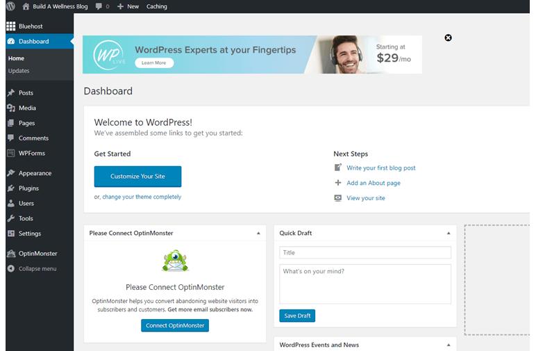 Starting fitness blogging with WordPress: Dashboard
