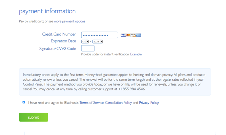 Configuring Bluehost with WordPress: Payment Information