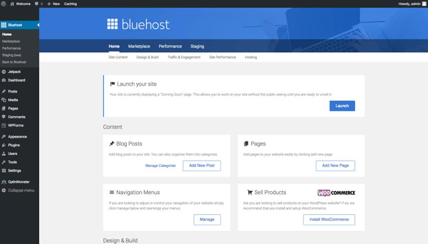 Install WordPress: Bluehost Dashboard