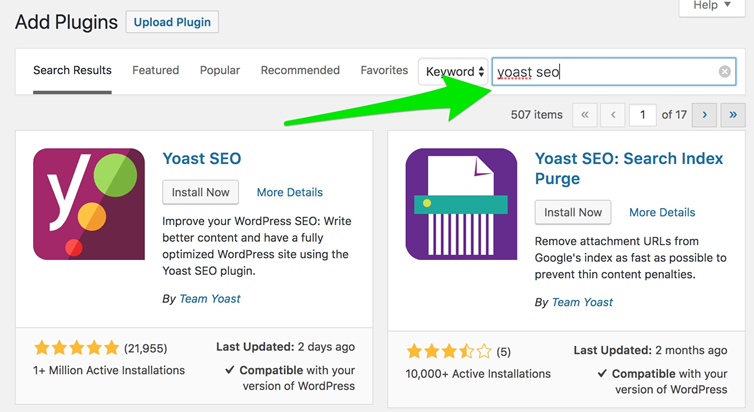 Configure YOAST for SEO optimization: Install Plugin