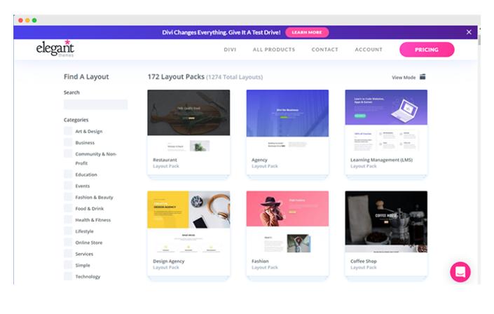 Divi Page templates