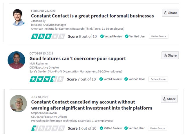 Trustpilot Constant Contact
