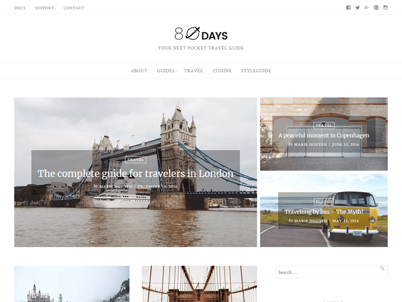 EightyDays best wordpress theme for travel blogs