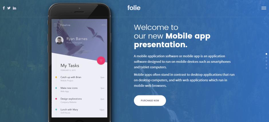 Folie parallax scrolling wordpress theme