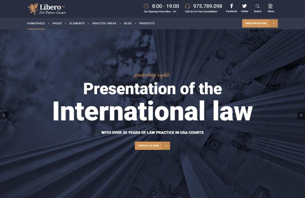Libero law firm wordpress theme