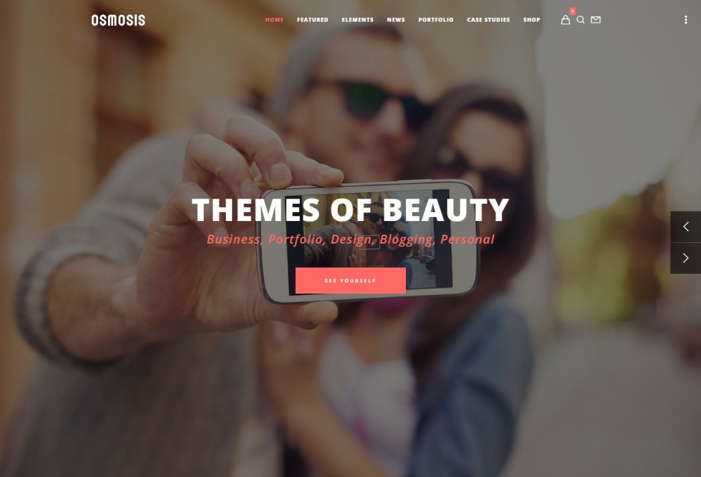 Osmosis wordpress themes with parallax