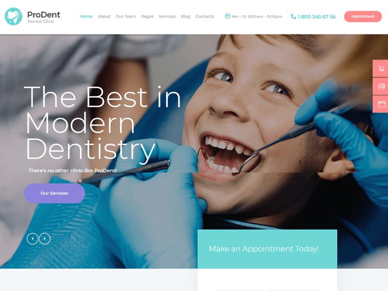 Prodent wordpress dentist theme