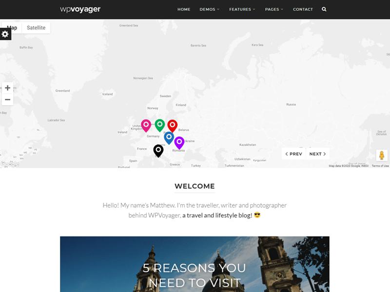 WPVoyager travel blog wordpress theme